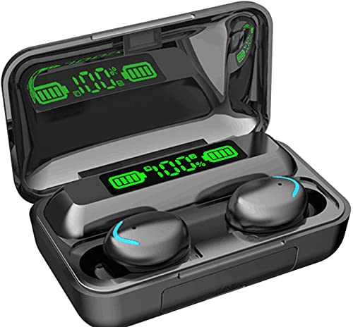 True Wireless Bluetooth Headphones Earphones In Ear V5.0, Earbuds IPX7 Waterproof 30-Hours Playtime TWS Clear Stereo Sound with Mic Single/Twin Mode for Running Sport Home Office(Black)