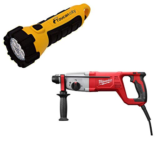 Toucan City LED Flashlight and Milwaukee 8 Amp Corded 1 in. SDS D-Handle Rotary Hammer 5262-21