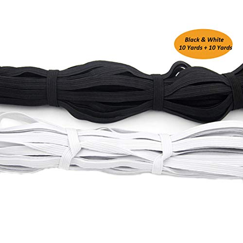 """2 Pack Elastic Ribbon Bands 1/4"""" Width 10 Yards for Clothes Garment Sewing Crafts Accessories - DIY Braided Elastic Bungee Cord Rope - Stretch Knit Spool (White and Black)"""