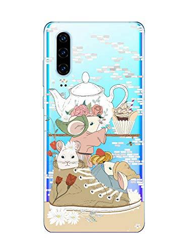 Oihxse Funda Dibujos Animal Lindo Compatible OnePlus 5T Carcasa Transparente Clear Silicona TPU Gel Suave Case Ultra Slim Anti-Golpes Anti-Arañazos Protection Cover(Ratón)