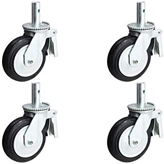 """CasterHQ- 6"""" X 2"""" Scaffold Caster Set with Brakes - Mold-ON-Rubber Wheel - Metal Thread Guards Included - 1,600 LBS Capacity PER Set of 4"""