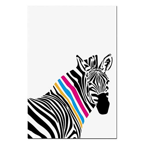 Generic Nordic Modern Schwarz und Weiß Tier Zebra Giraffe Leinwand Poster Minimalistischen Wandkunst Malerei Bild für Wohnzimmer 40x60 cm Kein Rahmen
