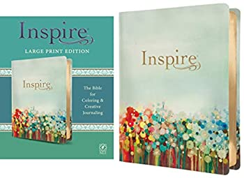 Inspire Bible Large Print NLT  LeatherLike Floral Fields with Gold   The Bible for Coloring & Creative Journaling
