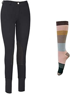 Women Starter Lowrise Pull On Breeches with Free Assorted Striped Socks | Knee Patch | Horse Riding Pants | Equestrian Apparel