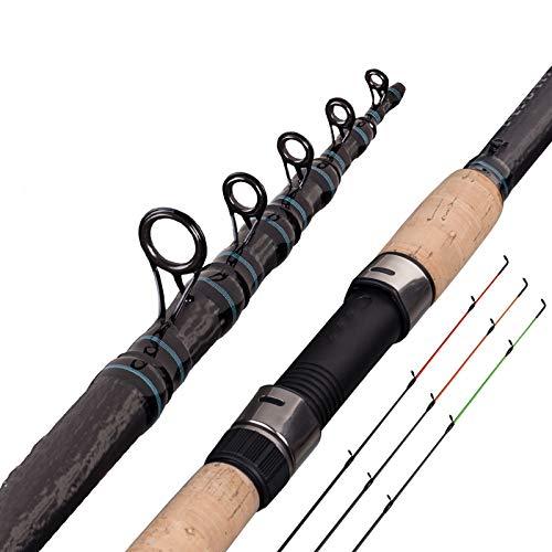 DUOHAOYI Feeder Fishing Rod Telescopic Spinning Casting Travel Rod 3.0 3.3 3.6m Vara De Pesca Carp Feeder 60-180g Fuji Pole-3.6m 60-180g
