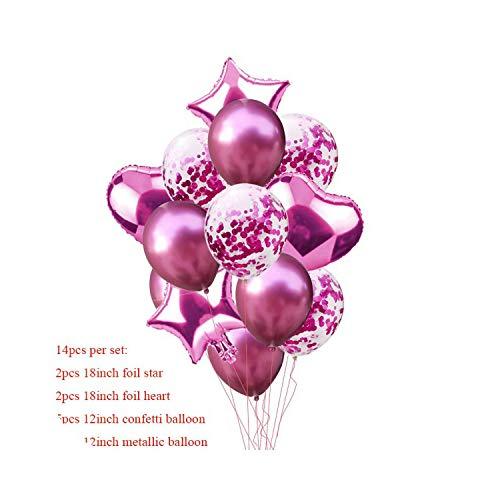 Garland Arch Kit Bollons | 14pcs Multi Luft-Ballone für Geburtstag Dekoration Kinder Erwachsene Luftballons Hochzeit Festival Balon Deco-Geburtstags-Party Luftballons S8XZ, Balonnen Red Rose