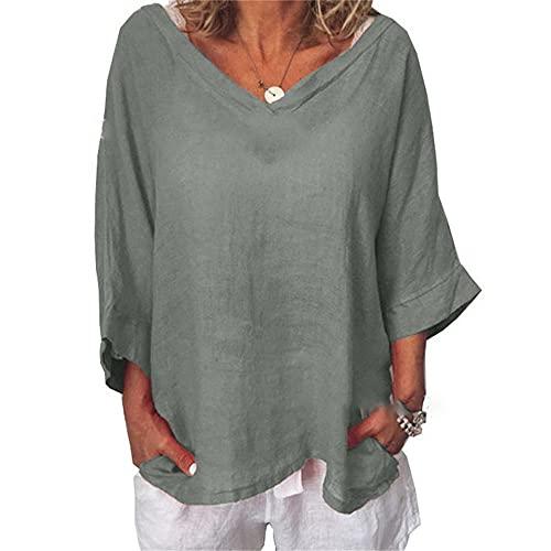 Camiseta Mujer Blusa Mujer De Gran Tamaño Cómoda Elegante Ropa Casual Cuello En V con Medias Mangas Clásico De Verano Ropa Informal Diaria para Damas D-Gray 3XL