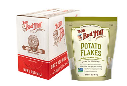Bob's Red Mill Instant Mashed Potatoes Creamy Potato Flakes, 16-ounce (Pack of 4)