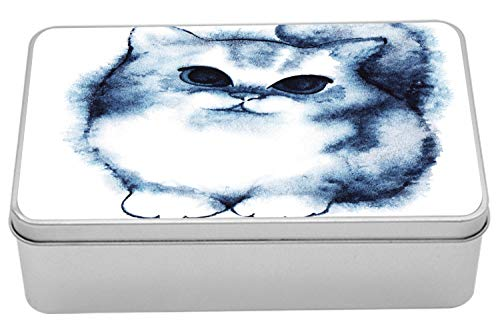 "Ambesonne Navy Blue Metal Box, Kitty Paint with Distressed Color Features Fluffy Cat Best Companion Ever, Multi-Purpose Rectangular Tin Box Container with Lid, 7.2"" X 4.7"" X 2.2"", Grey White"