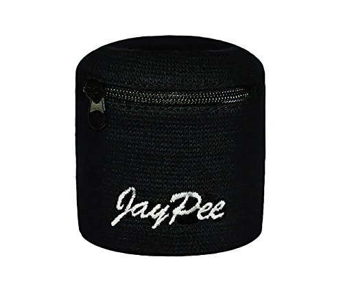 JayPee Funktions-Schweißband mit Fach Tasche und Reißverschluss/Sport Wristband (schwarz)