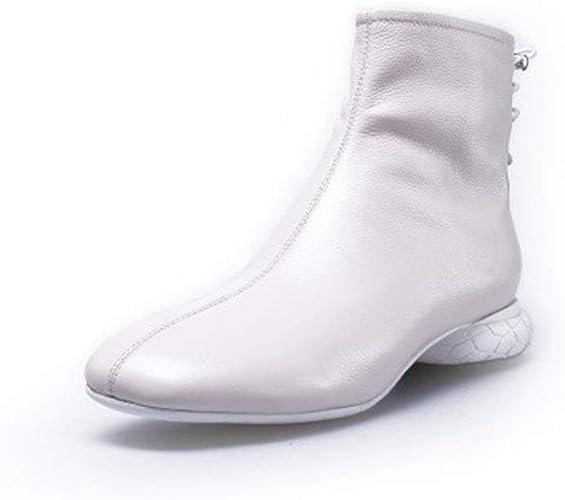 Yanyan Bottines pour Femme Hiver Nouveaux Bottillons Plats décontractés Bottes en Cuir Angleterre Bottes Martin de Mode Noir Beige