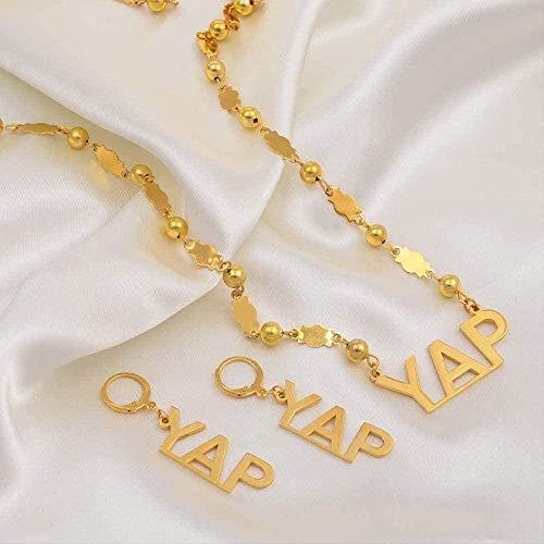 Collar Mujer Collar Micronesia Yap Island Conjuntos de Joyas Esfera Collar de Perlas Conjuntos de Pendientes para Mujeres Joyas de Color Dorado Acero Inoxidable