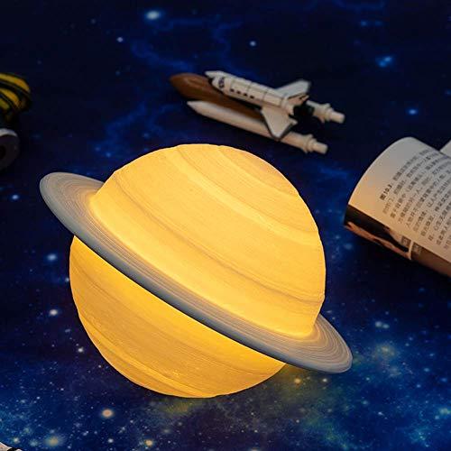 LJYY Nueva lámpara de Saturno con impresión 3D Recargable de Dropship como lámpara de Luna, luz Nocturna para luz de Luna con 2 Colores, Regalos remotos, 15 cm