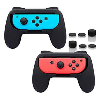 FASTSNAIL Grips Compatible with Nintendo Switch for Joy Con & OLED Model for Joycon Wear-Resistant Handle Kit Compatible with Joy Cons Controllers 2 Pack Black