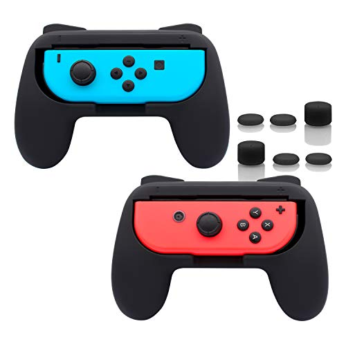 FASTSNAIL Grips for Nintendo Switch Joy-Con, Wear-resistant Handle Kit for Switch Joy Cons Controller, 2 Pack (Black)