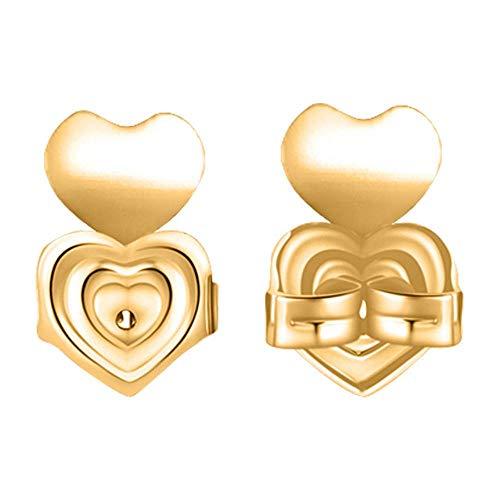 Aeromdale Magische Ohrring-Verschlüsse, verstellbar, hypoallergen, für Ohrhänger, Magic-Ohrring-Verschlüsse, Herz B – vergoldet – 1 Paar