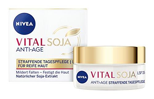 NIVEA Vital Soja Anti-Age Schützende Tagespflege (50 ml), Tagescreme mit LSF 15 und Soja-Extrakt, Anti Aging Feuchtigkeitscreme für gemilderte Falten