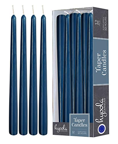 Hyoola 12er Pack Stabkerzen Tropffrei – 10 Stunden Brenndauer – Leuchterkerzen Blau – Unparfümiert – 30 cm Tafelkerzen