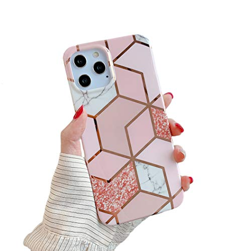 """Cocomii Geometric Marble iPhone 12 Pro Max Case, Slim Thin Glossy Soft TPU Silicone Rubber Gel Shiny Reflective Streaks Fashion Bumper Cover Compatible with Apple iPhone 12 Pro Max 6.7"""" (Pink/Glitter)"""