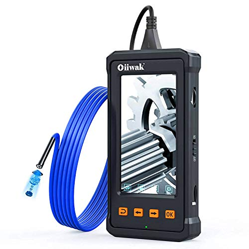 Oiiwak Industrial Endoscope, 1080P HD 5.5mm Borescope Inspection Snake Camera IP67 Waterproof for Automotive Maintenance with 4.3'' IPS Screen, 2800mAh Battery, 8GB TF Card & 6 LED Lights(4.92FT)