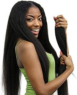 ISEE Hair 8A Kinky Straight Hair 3 Bundles Yaki Human Hair Weave Unprocessed Sew in Brazilian Virgin Remy Hair Extensions Natural Black (20 22 24)