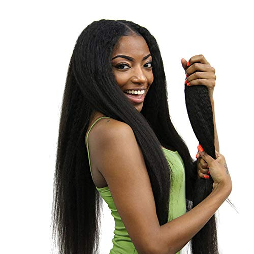 ISEE Hair 8A Kinky Straight Hair 3 Bundles With Free Part Lace Closure Yaki Human Hair Weave Unprocessed Sew in Brazilian Virgin Remy Hair Extensions Natural Black (141618+12''Closure)