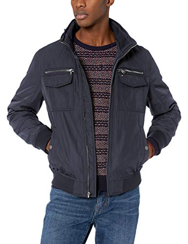 Tommy Hilfiger Men's Water and Wind Resistant Performance Bomber Jacket (Standard and Big & Tall), Navy Unfilled, X-Large