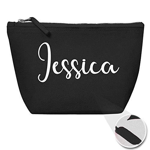 Personalisiert Name Initialen Kosmetiktasche Damen Schminktasche für Handtasche Makeup Tasche - Glitter oder Flocke Material Druck - Weiße Flocke - L | Schwarz