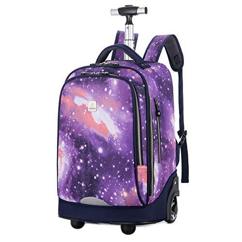 Wieltje Laptop Rugzak, 18 inches Travel Rolling Trolley Tas voor Volwassenen en School Studenten Boeken Reistas Sterrenhemel voor Mannen Vrouwen