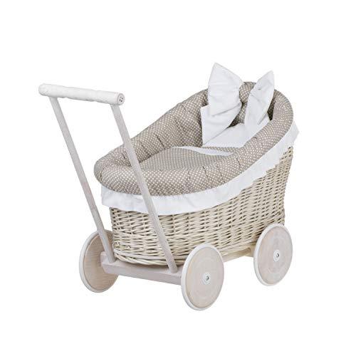 e-wicker24 EIN Wagen, EIN Bett für Puppen aus Weide, Spielzeug aus Weide, Puppenwagen aus Weide,...
