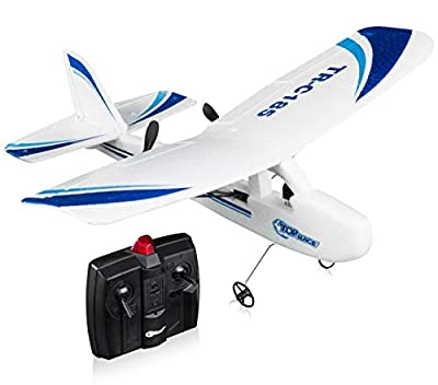 Top Race Remote Control RC Model Plane Outdoor Toy for Adults Kids 2 Channel RTF Ready to Fly Airplane Toys Light Weight Radio Controlled Aircraft Jet Planes Polystyrene Aeroplanes Boys Girls Tr-c185