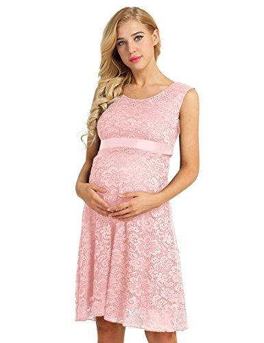 TiaoBug Damen Umstandskleid Spitzenkleid Frauen Schwangerschafts Kleid V-Ausschnitt Mutterschafts Kleid Fotografie Stillkleid mit Geknotetem Dekolleté Rosa Ärmellos 40-42