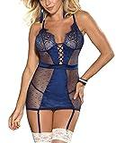 marysgift Women Plus Size Lingerie Set Satin Babydoll Chemise Suspenders Lace Set Lingerie G...