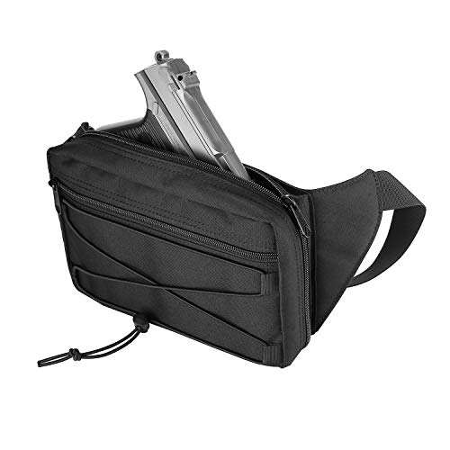 ProCase Concealed Carry Fanny Pack Holster, Tactical Pistol Waist Pack Bag Gun Holster for Glock 1911 S&W M&P Shield Ruger Sig Sauer Springfield Beretta and More -Black