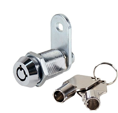 "FJM Security 2400AL-KA Tubular Cam Lock with 1-1/8"" Cylinder and Chrome Finish, Keyed Alike"