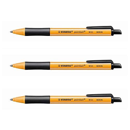 Stabilo Pointball Kugelschreiber, einziehbar, 0,5 mm, Schwarz, 3 Stück