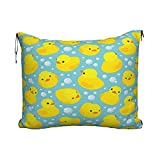 Manta de Viaje de Moda Happy Baby Rubber Duck and Bubbles Travel Blanket Pillow Set for Extra Comfort Portable with Luggage...