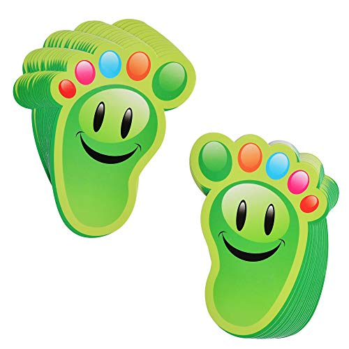 Bluecell 15-Pairs Cartoon Guide Self-Adhesive Footprints Stickers Floor Decals for Kids Room Party Nursery Floor Stairs Decor (Green)