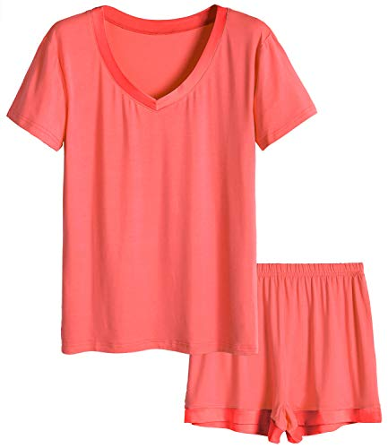 Latuza Women's V-Neck Sleepwear Short Sleeve Pajama Set S Coral