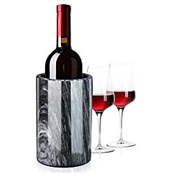 Modern Innovations Wine Chiller Elegant Grey Marble Wine Bottle Cooler Keeps Wine and Champagne Cold with Multipurpose Use as Kitchen Utensil Holder and Flower Vase (Grey)