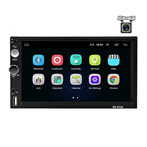 KAUTO Estéreo de Coche Android de Doble DIN, Audio Bluetooth MP5 Player 7'Pantalla táctil USB FM Android Phone Mirror Link Reproductor Multimedia para Coche con cámara retrovisora ​​-