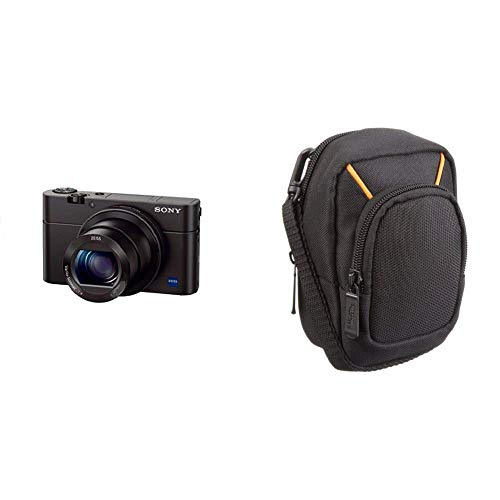 Sony RX100 Premium Kompakt Digitalkamera (20 MP, 7,6 cm (3 Zoll) Display, 1 Zoll Sensor, 28-100 mm F1.8-4.9 Zeiss Objektiv, 3,6x opt. Zoom) (DSC-RX100) schwarz & AmazonBasics Kameratasche, groß