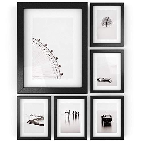ARTEZA Marcos de Fotos | 15,2 x 20,3 cm (10,2 x 15,2 cm con recuadro) | Paquete de 6 | Marcos con Acabado en Madera | Cristal Transparente |Marcos de Fotos múltiples para Pared y Escritorio