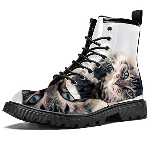 Grijze kat liggend Waterdichte Schoenen Platte Lace Up Enkellaarsjes Lage Hak Werk Combat Laarzen, Grijze kat liegen, 39 EU