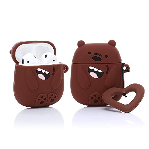 YIGEYI Silicone Case Compatible with Airpods 1&2 Funny Cute 3D Cartoon Cover [Three Cute Bear Series] (Brown)