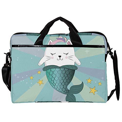 EZIOLY Mermaid Cat Make A Wish Laptop-Umhängetasche, Umhängetasche, Umhängetasche, Umhängetasche, Messenger Sleeve für 14-39,1 cm (14-15,4 Zoll) Laptops