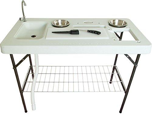 Beach & Pool Filetier-Tisch mit Spüle und Zubehör, Kunststoff, klappbar Waschtisch Multifunktionswaschtisch Campingspüle