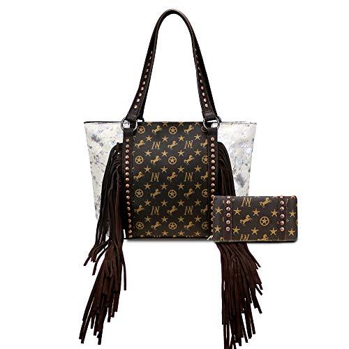 Montana West Leather Cowhide Tote Bag For Women Western Fringe Handbag Shoulder Bag With Matching Wallet