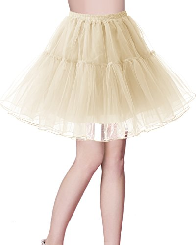 bridesmay Kurz Retro Petticoat Rock 1950er Vintage Tutu Ballett Unterkleid Champagne M