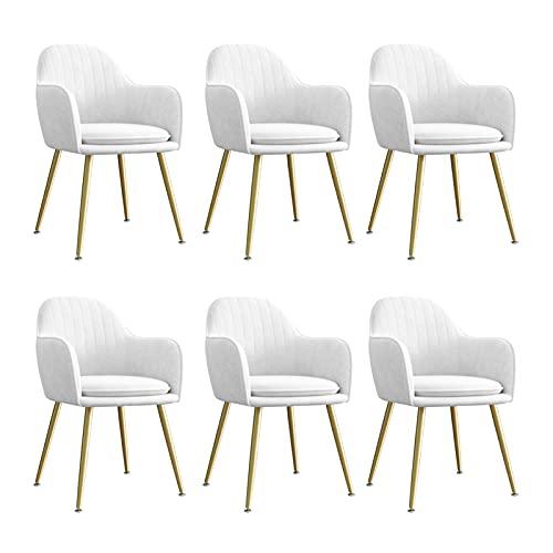 WYGK Sedia da Pranzo in Velluto Set di 6, for Soggiorno Camera da Letto Appartamento Sedia da Trucco con Gambe in Metallo Sedia a Sdraio 47 × 44 × 83 cm Arredamento (Color : White)